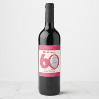 Vintage 60th birthday photo custom wine labels