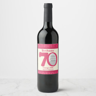 Vintage 70th birthday photo custom wine labels