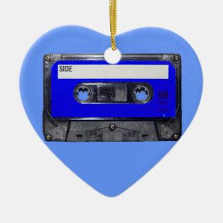 Vintage 80's Blue Label Cassette Ceramic Heart Decoration
