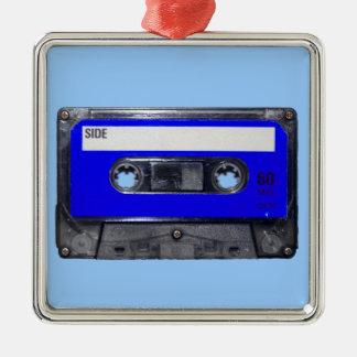 Vintage 80's Blue Label Cassette Square Metal Christmas Ornament