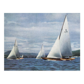 Vintage 8 metre yachts off the Isle of Wight Postcard