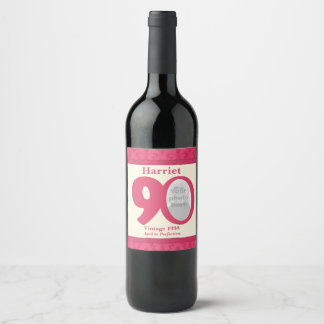 Vintage 90th birthday photo custom wine labels
