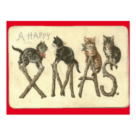 Vintage A Happy Xmas Cat's Christmas Post Card