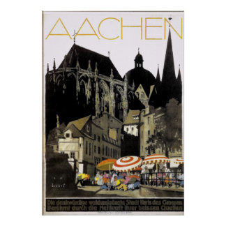 Vintage Aachen Germany Travel Poster