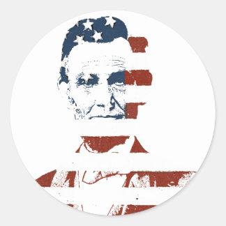 Vintage abraham lincoln american flag round sticker