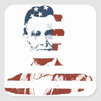 Vintage abraham lincoln american flag square sticker