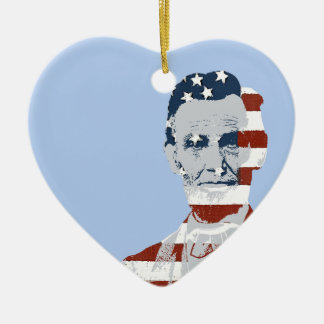 Vintage Abraham Lincoln Independence Day Ceramic Heart Decoration
