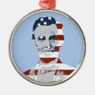 Vintage Abraham Lincoln Independence Day Silver-Colored Round Decoration