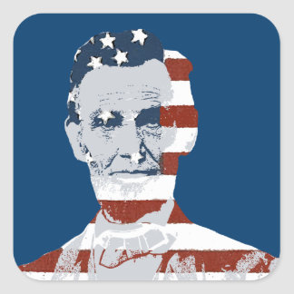Vintage Abraham Lincoln Independence Day Square Sticker
