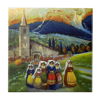 Vintage Abruzzo Italy Travel Poster Small Square Tile