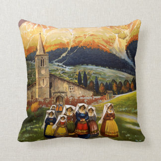Vintage Abruzzo Italy Travel Throw Pillow