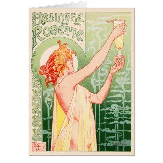 Vintage Absinthe Robette by Alphonse Mucha Greeting Card