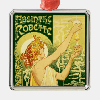 Vintage Absinthe Robette Poster Silver-Colored Square Decoration