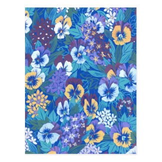 Vintage Abstract Floral Pansy Postcard