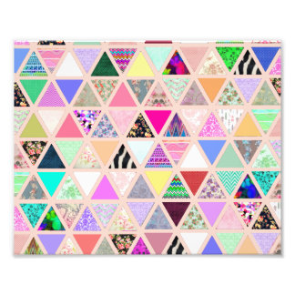 Vintage Abstract Floral Triangles Pastel Patchwork Photo Print
