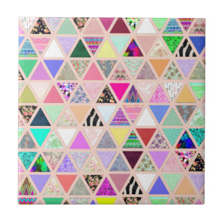 Vintage Abstract Floral Triangles Pastel Patchwork Small Square Tile
