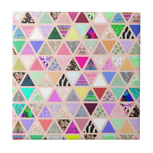 Vintage Abstract Floral Triangles Pastel Patchwork Ceramic Tiles