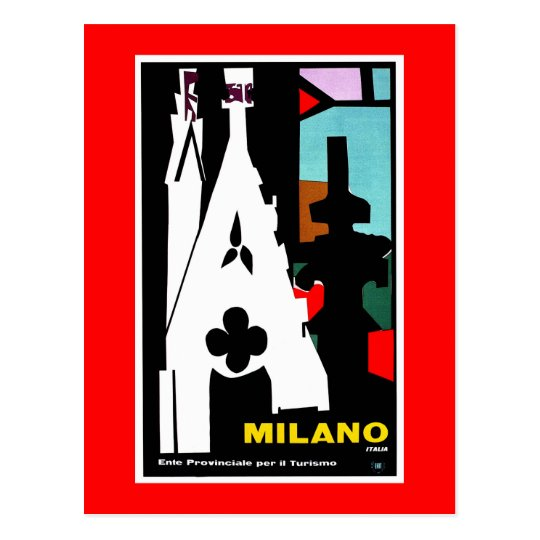 Vintage abstract Italian Travel poster Milan Postcard