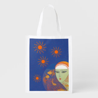 Vintage Abstract Lady Behind Gold Fish Bowl Sun Reusable Grocery Bag