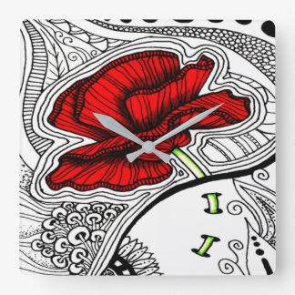 Vintage Abstract Poppy Print Square Wall Clock