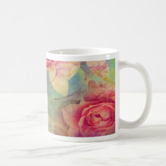 Vintage abstract rose victorian shabby chic pink mugs