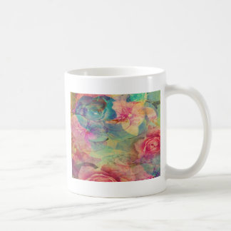 Vintage abstract rose victorian shabby chic pink coffee mugs