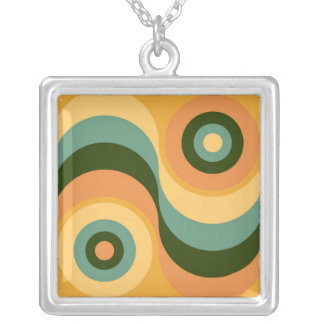 Vintage Abstract Wavy Colorful Rainbow Squares Square Pendant Necklace