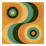 Vintage Abstract Wavy Colourful Rainbow Squares Poster