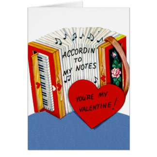 Vintage Accordion Valentine's Day Card