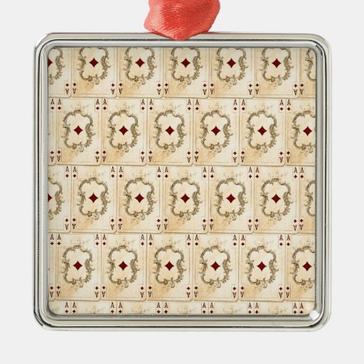 Vintage Ace Diamonds Playing Cards Collage Ornaments