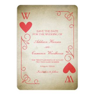 Vintage Ace of Hearts Save the Date 13 Cm X 18 Cm Invitation Card