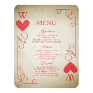 Vintage Ace of Hearts Wedding Menu 11 Cm X 14 Cm Invitation Card