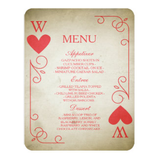 Vintage Ace of Hearts Wedding Menu Card