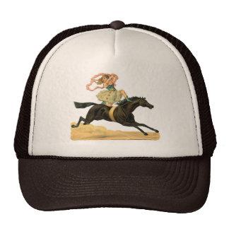 Vintage acrobat girl on A horse Cap