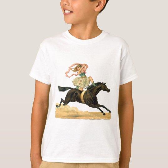 Vintage acrobat girl on A horse T-Shirt