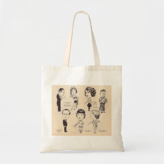 Vintage Actor Actress Caricatures Budget Tote Bag