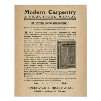 Vintage Ad Advertisement for Modern Carpentry Book Poster