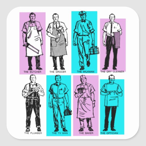 Vintage Ad Art American Workers in the Sixties Men Stickers