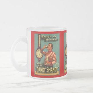 VINTAGE AD DANDY SHANDY BARWARE BREW BEER MUGS! FROSTED GLASS MUG