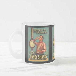VINTAGE AD DANDY SHANDY BARWARE BREW BEER MUGS! FROSTED GLASS MUG