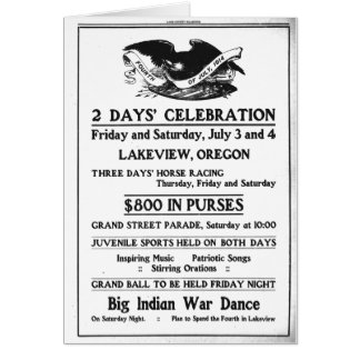 Vintage Ad Fourth of July 4th Lakeview Oregon Greeting Card