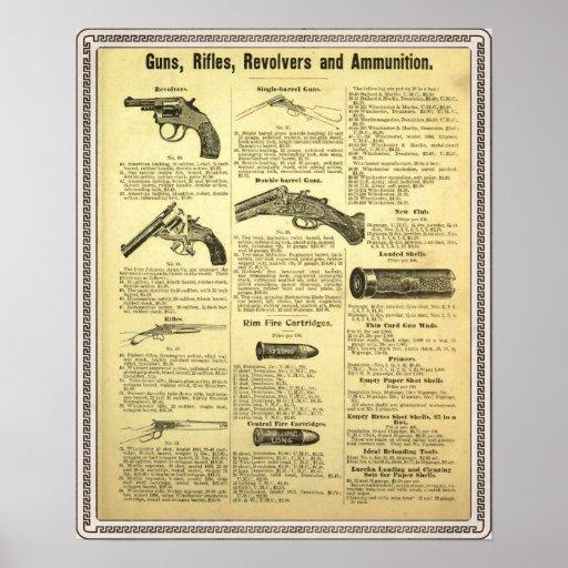 Vintage ad guns, rifles, revolvers and ammunition poster