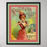 Vintage Ad Poster or Rosinette Absinthe