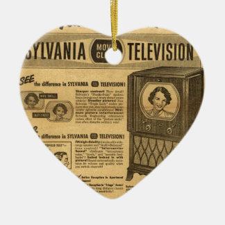 Vintage ad poster: Sylvania television 1950s Ceramic Heart Decoration
