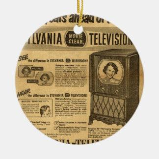 Vintage ad poster: Sylvania television 1950s Round Ceramic Decoration