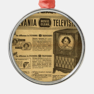 Vintage ad poster: Sylvania television 1950s Silver-Colored Round Decoration