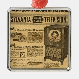 Vintage ad poster: Sylvania television 1950s Silver-Colored Square Decoration