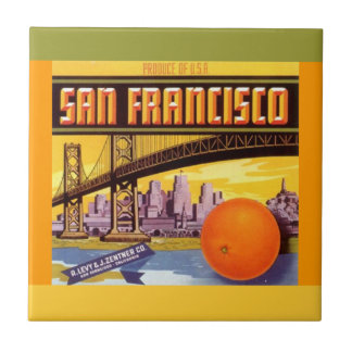Vintage ad San Francisco orange Crate Label Tile