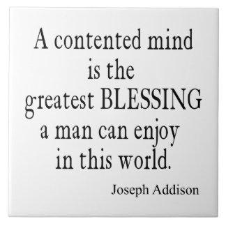 Vintage Addison Content Mind Inspirational Quote Ceramic Tiles