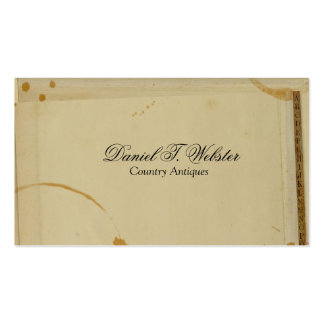 Vintage Address Book Tabs Coffee Stains Business Card Template
